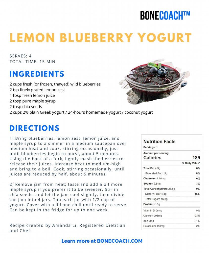 Bone Coach Recipes   Lemon Blueberry Yogurt   Osteoporosis & Bone Health